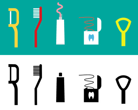 tongues: Set of Dental care tool flat icon, design