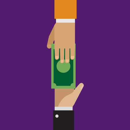 lending: Trading, loaning money, corruption in flat style Illustration