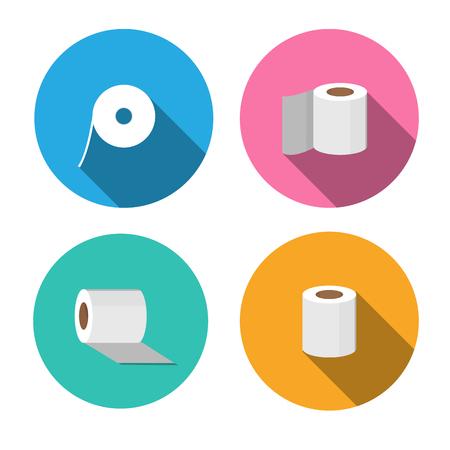 utiles de aseo personal: Iconos de papel de seda de estilo plano, diseño