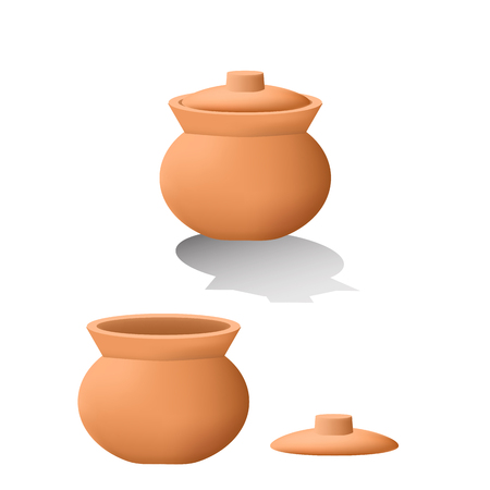 Traditional asian clay pot in 3D. mesh design
