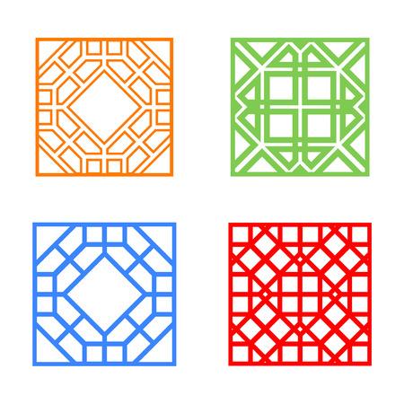 korean design: Modern Korean window and tile in square design, vector Illustration