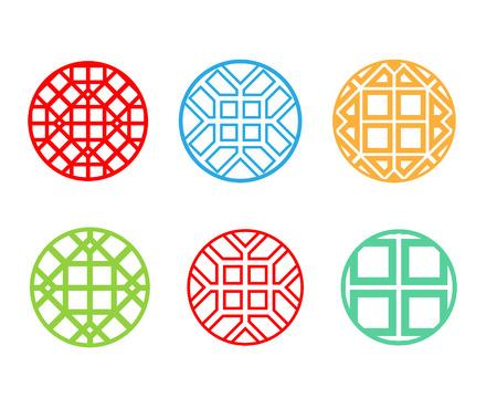 korean design: Modern round Korean pattern window frame, vector design