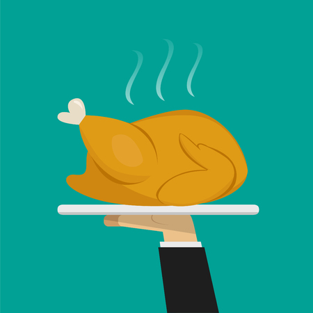 Waiter hand serving Roasted chicken on plate, vector
