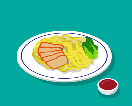 Dry Egg noodle soup with roast pork in 3d style, vector Illustration