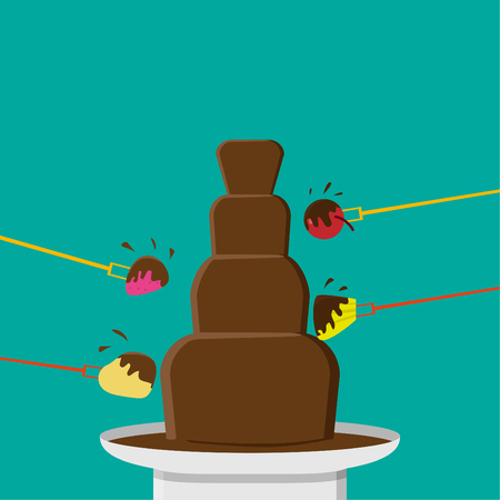 Chocolate Fondue party in flat style, vector design Illustration