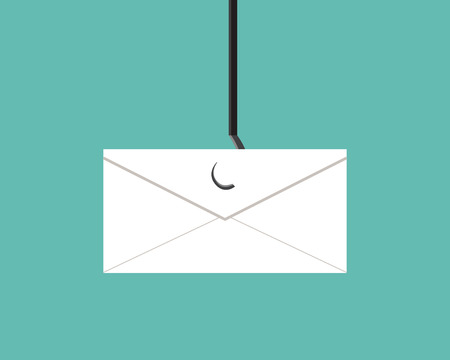 stealing data: Phishing, Scams mail in flat vector design