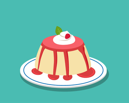 Strawberry pudding on white plate, vector design Illustration