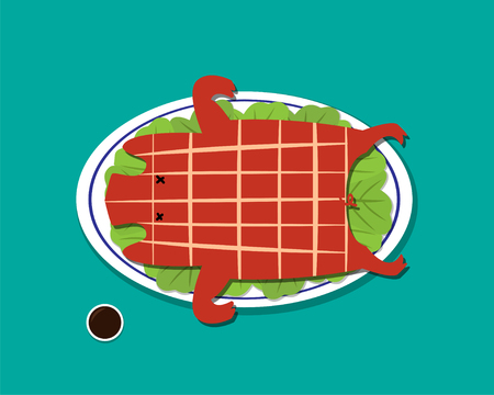 Barbecued suckling pig in flat style, vector design Illustration