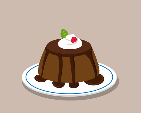 Chocolate pudding on white plate, vector design