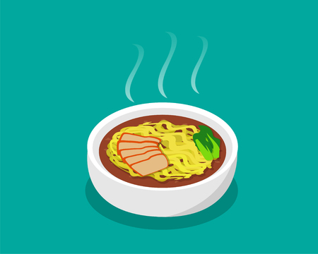 noodle soup: Egg noodle soup with roast pork and soup in 3d, vector