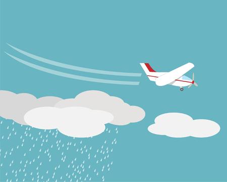 Kunstmatige regen, Rainmaking, Cloud seeding, vector design Stock Illustratie