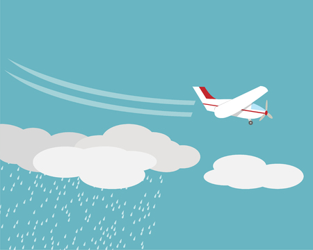 Artificial rain, Rainmaking, Cloud seeding,vector design