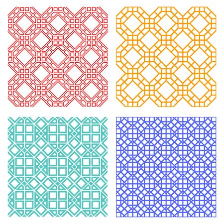 Seamless geometric line pattern in Korean style, vector