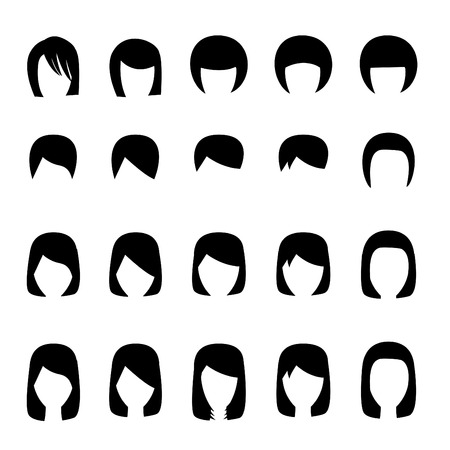 set of men hair styling: Set of hairstyle silhouette, vector design Illustration