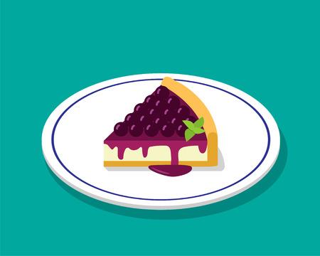 porcion de torta: Pastel de queso de arándano en estilo de dibujos animados 3D, diseño de vectores