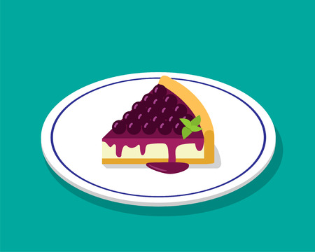 Blueberry cheese cake in 3D cartoon style, vector design Illustration