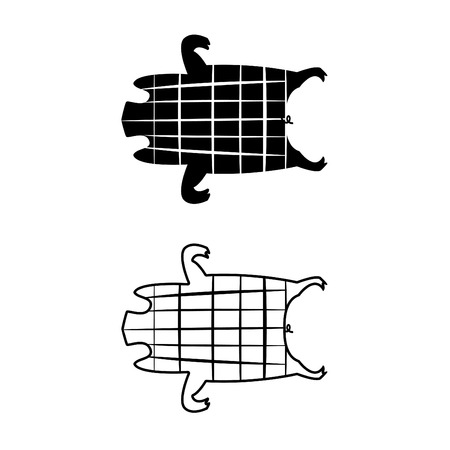 spanferkel: Barbecued suckling pig icons and symbol, vector design