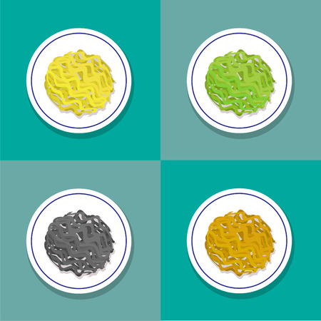 Set of only noodle on plate in flat style, vector design