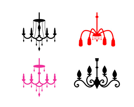 Set of chandelier icons in silhouette style, vector design Illustration