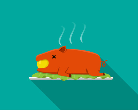 suckling: Hot Barbecue suckling pig in flat style, side view, vector Illustration