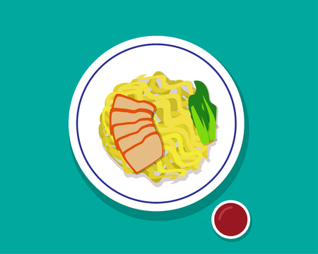 noodle soup: Dry Egg noodle soup with red roast pork, Top view, vector