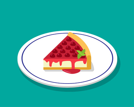 cheese cake: Strawberry cheese cake in 3D cartoon style, vector design Illustration