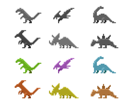 saurian: Set of dinosaur icons in color pixel style, vector design