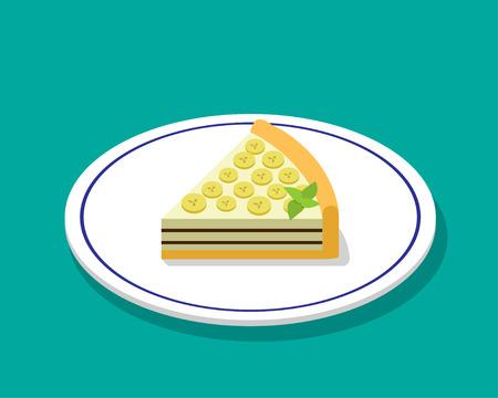 cheese cake: Banana cheese cake in 3D cartoon style, vector design