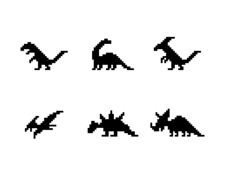 Set of dinosaur icons in silhouette pixel style, vector Illustration