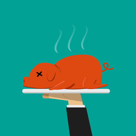 ウェイターの手グリル料理子豚のプレート上のベクトルします。
