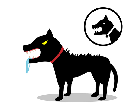 Rabid dog in flat style and icon, vector design Stock Vector - 85164690