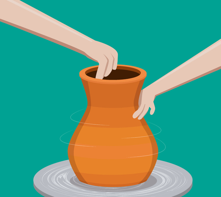 Potter making a pottery, vector design