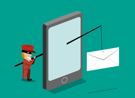 Scammer send phishing mail by mobile phone, vector design Vectores