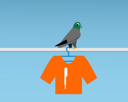 Bad Pigeon Bird shit on t-shirt , vector cartoon