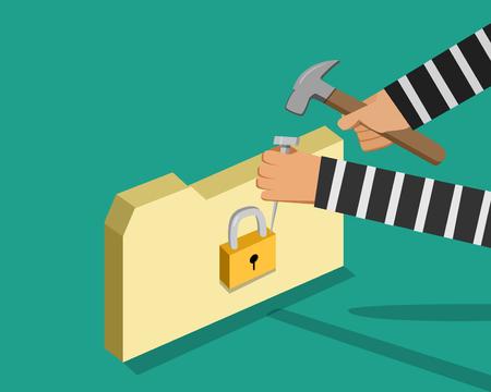 Hacker trying to unlock folder, vector design