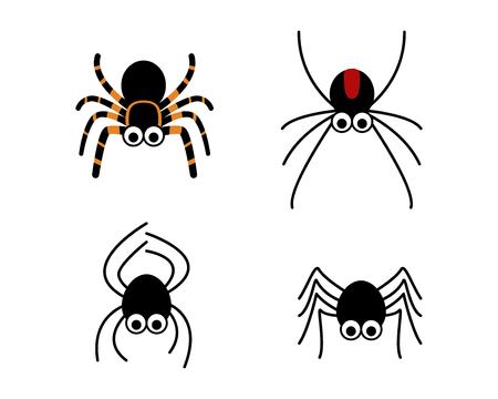 シンプルなスタイル、ベクター デザインでかわいいクモのセット