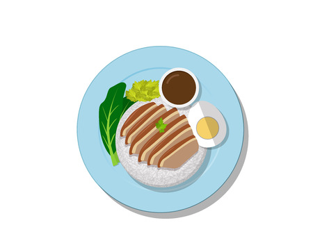 Stewed pork leg on rice, Top view Thai food, vector design