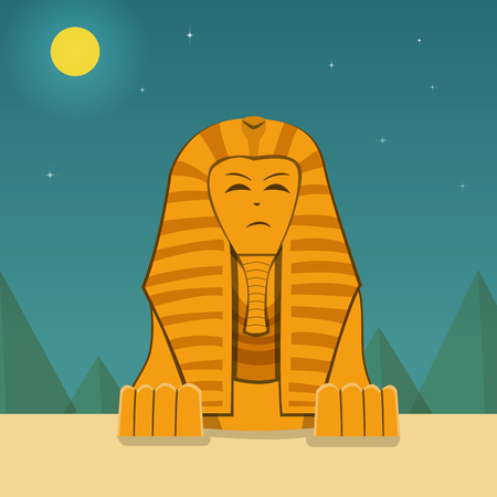 Front view, Sphinx at night time, vector landscape design Illustration