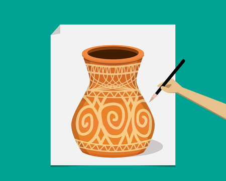 earthenware: Artist painting ancient pottery on paper, vector design Illustration