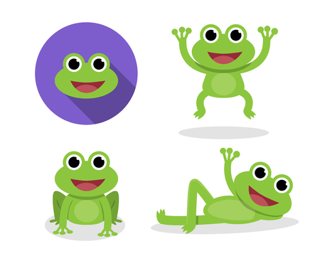 Set of green frog in cartoon style, vector design Ilustracja
