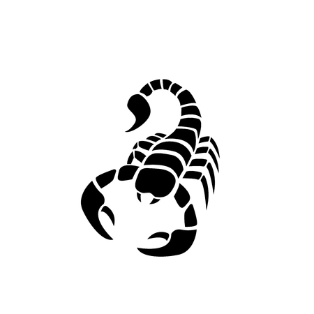 Scorpion icon in simple tattoo style,vector design Vectores