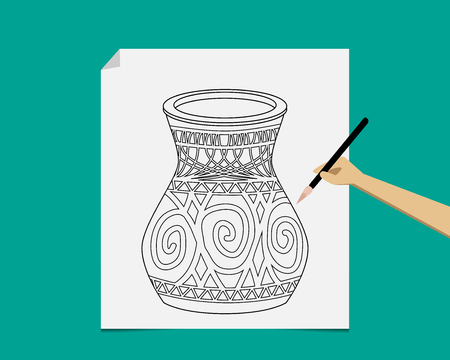 earthenware: Artist sketching ancient pottery on paper, vector
