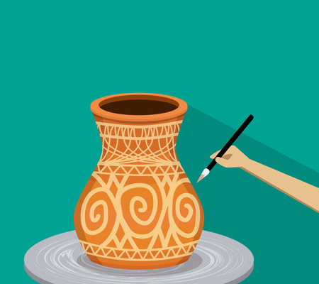 Artist painting ancient tribal pottery, vector design Illustration