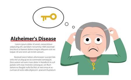 Enfermedad de Alzheimer en la mujer de edad, diseño de vectores Foto de archivo - 85164825