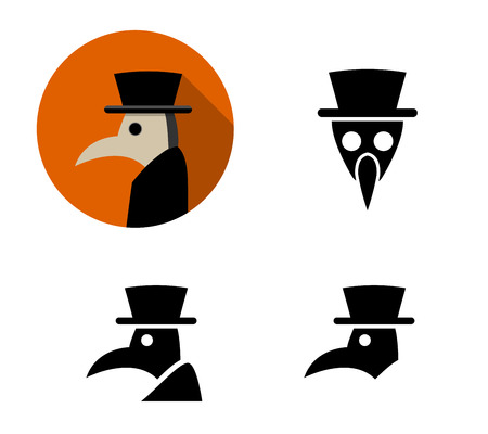 Set of Plague doctor icons, vector design Çizim