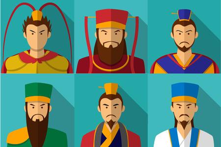 Set of Three kingdom character portrait in flat, vector