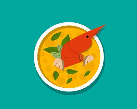 Thai shrimp soup - Tom yum Kung, top view, vector design
