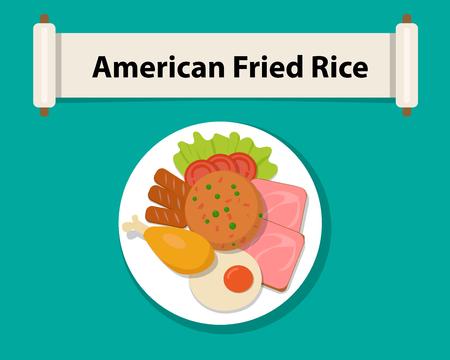 Riso fritto americano in stile piatto, vista dall'alto, disegno vettoriale