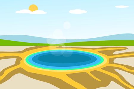 Yellowstone lake landscape in vector design concept