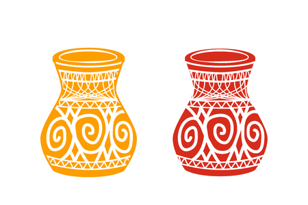 Ancient tribal pottery shop icon, vector design
